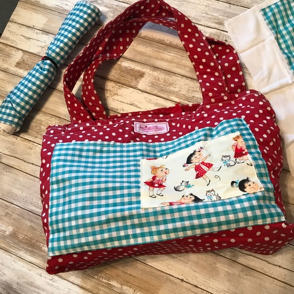 2 Red Hens Diaper Bag Tote Lined Changing Pad NEW